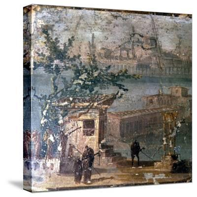 Mythical landscape at Naples, Roman wallpainting from Pompeii, c1st century-Unknown-Stretched Canvas Print