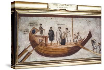 Roman Merchant-ship being loaded with grain, from a wall painting in Ostia, 2nd-3rd century-Unknown-Stretched Canvas Print