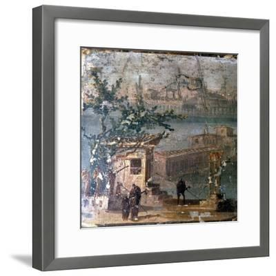Mythical landscape at Naples, Roman wallpainting from Pompeii, c1st century-Unknown-Framed Giclee Print