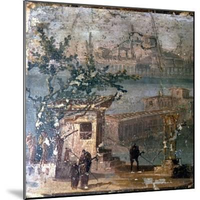 Mythical landscape at Naples, Roman wallpainting from Pompeii, c1st century-Unknown-Mounted Giclee Print
