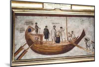 Roman Merchant-ship being loaded with grain, from a wall painting in Ostia, 2nd-3rd century-Unknown-Mounted Giclee Print