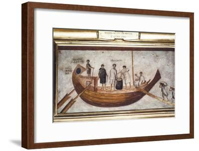 Roman Merchant-ship being loaded with grain, from a wall painting in Ostia, 2nd-3rd century-Unknown-Framed Giclee Print