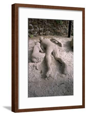 Casts of victims of eruption of Vesuvius in AD79, Pompeii, Italy, c20th century-Unknown-Framed Giclee Print