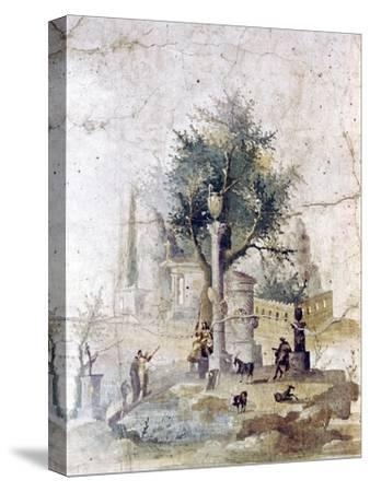 Roman wall painting from villa of Agriopa Posthumus, near Pompeii, c1st century-Unknown-Stretched Canvas Print