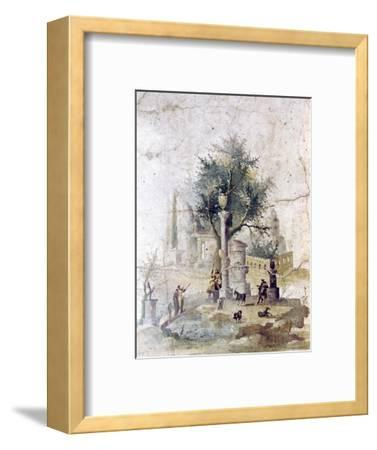 Roman wall painting from villa of Agriopa Posthumus, near Pompeii, c1st century-Unknown-Framed Giclee Print