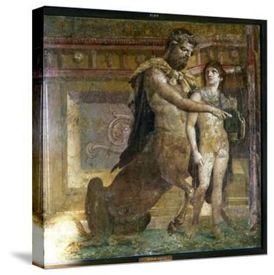 The Centaur 'Cheiron' teaching Achilles, Roman wall-painting from Herculaneum, c1st century-Unknown-Stretched Canvas Print
