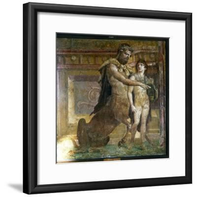 The Centaur 'Cheiron' teaching Achilles, Roman wall-painting from Herculaneum, c1st century-Unknown-Framed Giclee Print