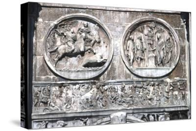 Arch of constantine Horizontal Band showing , Battle of Milvian Bridge, 313-315-Unknown-Stretched Canvas Print