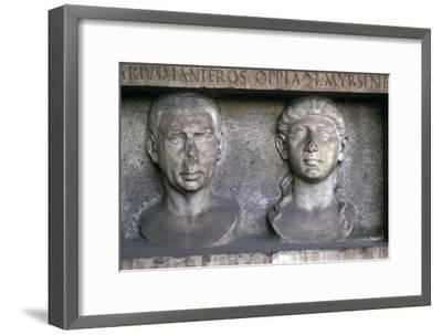 Roman Husband and wife (funerary slab) Imperial period. At Museo Nazionale Romano, Rome-Unknown-Framed Giclee Print