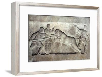 Stone relief ofStone relief of Gladiators fighting a lion, Turkey, c 323BC-31BC-Unknown-Framed Giclee Print