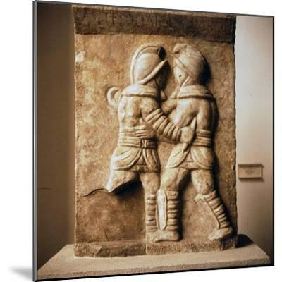 Combat between two gladiators, Roman relief from Epheseus, c3rd century-Unknown-Mounted Giclee Print
