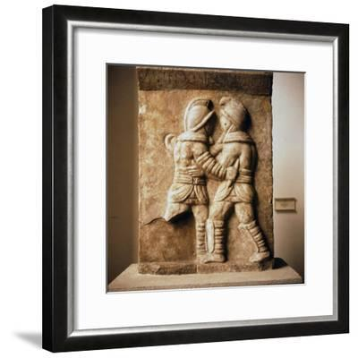Combat between two gladiators, Roman relief from Epheseus, c3rd century-Unknown-Framed Giclee Print