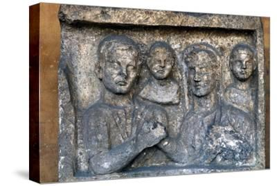 Roman Family on a grave-slab-Unknown-Stretched Canvas Print
