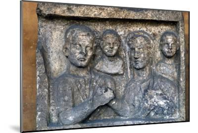 Roman Family on a grave-slab-Unknown-Mounted Giclee Print