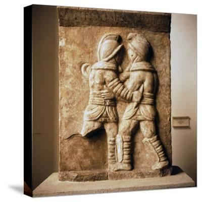 Combat between two gladiators, Roman relief from Epheseus, c3rd century-Unknown-Stretched Canvas Print