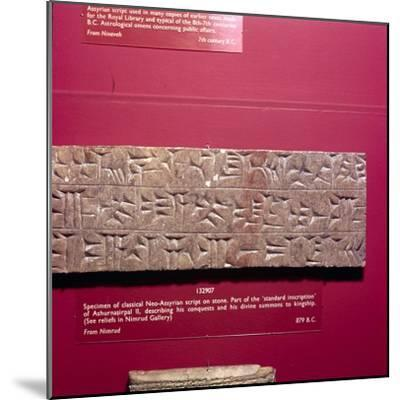 Cunieform Inscription from Nimbrud in classical Neo-Assyrian script, 879 BC-Unknown-Mounted Giclee Print