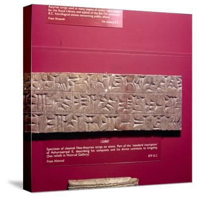 Cunieform Inscription from Nimbrud in classical Neo-Assyrian script, 879 BC-Unknown-Stretched Canvas Print