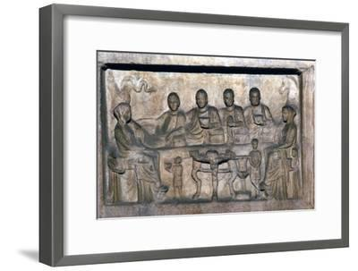 Banquet scene on funeral stele from Erdok, Turkey, Hellinistic period, c323 BC-31BC-Unknown-Framed Giclee Print