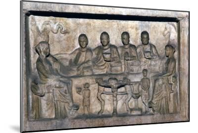 Banquet scene on funeral stele from Erdok, Turkey, Hellinistic period, c323 BC-31BC-Unknown-Mounted Giclee Print