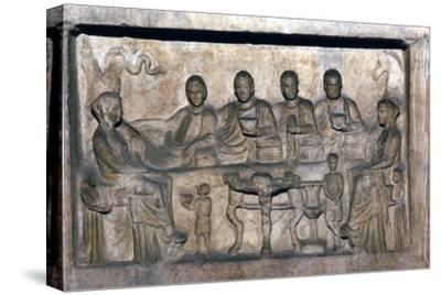Banquet scene on funeral stele from Erdok, Turkey, Hellinistic period, c323 BC-31BC-Unknown-Stretched Canvas Print