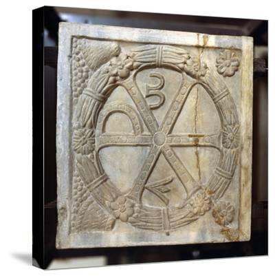Chi-Ro symbol with Alpha and Omega, Early Christian Sarcophagus, Rome, 4th century-Unknown-Stretched Canvas Print