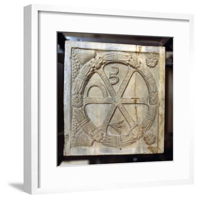 Chi-Ro symbol with Alpha and Omega, Early Christian Sarcophagus, Rome, 4th century-Unknown-Framed Giclee Print