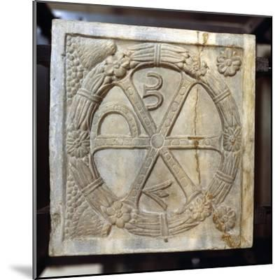 Chi-Ro symbol with Alpha and Omega, Early Christian Sarcophagus, Rome, 4th century-Unknown-Mounted Giclee Print
