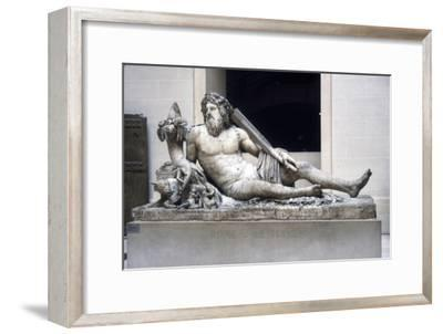 Statue of the Tiber river with Romulus and Remus, Roman marble, 1st-2nd century-Unknown-Framed Giclee Print