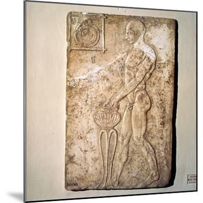 Roman Votive relief of Athlete from Republican Period, Rome, c2nd century BC-Unknown-Mounted Giclee Print