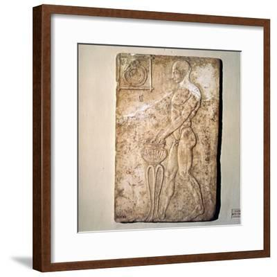 Roman Votive relief of Athlete from Republican Period, Rome, c2nd century BC-Unknown-Framed Giclee Print