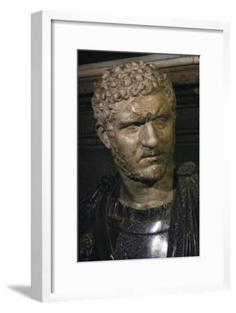 Ancient marble bust of Emperor Caracalla, 212-217-Unknown-Framed Giclee Print