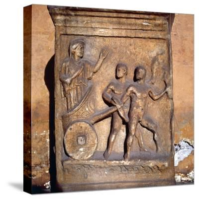 Roman relief, Kleobis and Biton draw their mother by chariot, c1st-3rd century-Unknown-Stretched Canvas Print