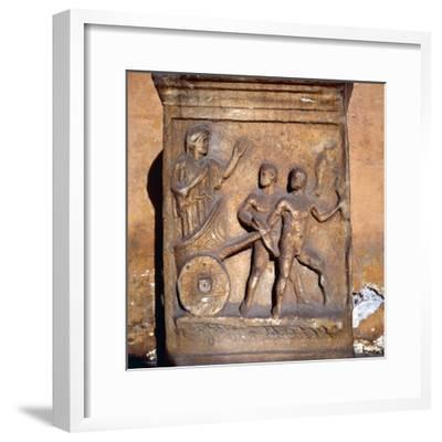 Roman relief, Kleobis and Biton draw their mother by chariot, c1st-3rd century-Unknown-Framed Giclee Print