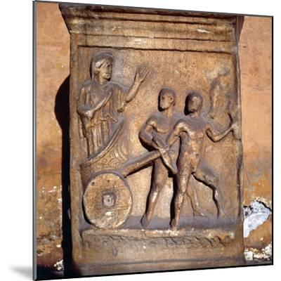 Roman relief, Kleobis and Biton draw their mother by chariot, c1st-3rd century-Unknown-Mounted Giclee Print