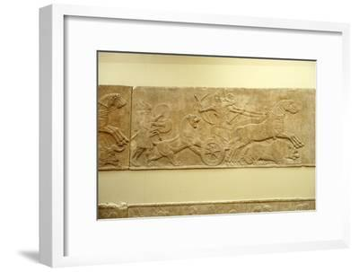 Ashurnasirpal II killing lions, c645 BC-635 BC-Unknown-Framed Giclee Print