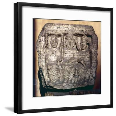 Capitoline Triad, Minerva, Jupiter and Juno, Funerary cippus or tomb marker-Unknown-Framed Giclee Print
