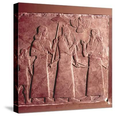Assyrian Relief, Ashurnasirpal II with attendants, 9th century BC-Unknown-Stretched Canvas Print