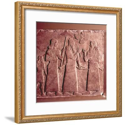 Assyrian Relief, Ashurnasirpal II with attendants, 9th century BC-Unknown-Framed Giclee Print