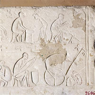 Craftsmen at Work, Blacksmiths, Carriage-Maker and one asleep, c1372BC-1354BC-Unknown-Framed Giclee Print
