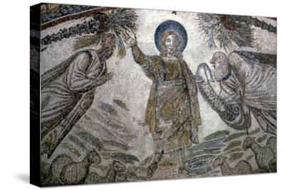Christ with St Paul and St Peter (right), Mosail detail, Church of Santa Costanza, Rome, 350 BC-Unknown-Stretched Canvas Print