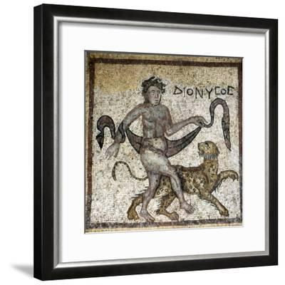 Roman Mosaic, Dionysus with Panther, c4th century-Unknown-Framed Giclee Print