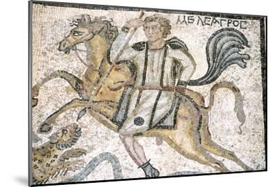 Roman mosaic from Carthage, Horseman hunts leopard, c3rd century-Unknown-Mounted Giclee Print