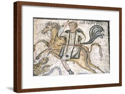 Roman mosaic from Carthage, Horseman hunts leopard, c3rd century-Unknown-Framed Giclee Print