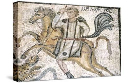 Roman mosaic from Carthage, Horseman hunts leopard, c3rd century-Unknown-Stretched Canvas Print