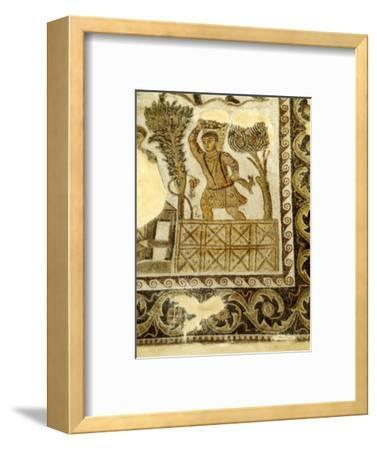 Fruit Collecting and grape treading Mosaic, c3rd century-Unknown-Framed Giclee Print