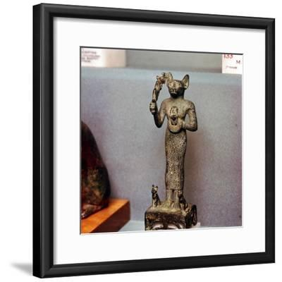 Egyptian Goddess Bastet as a Cat with Kittens, holding an Aegis, c664BC- 332BC-Unknown-Framed Giclee Print