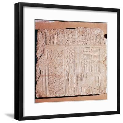 Egyptian Limestone Relief with scenes of Fields and Storehouses-Unknown-Framed Giclee Print