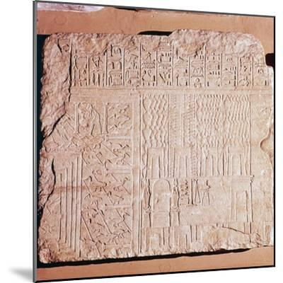 Egyptian Limestone Relief with scenes of Fields and Storehouses-Unknown-Mounted Giclee Print