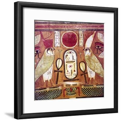 Detail of Egyptian coffin of Priestess of Amen-Ra, Cartouche of Osiris, c950BC-900BC-Unknown-Framed Giclee Print