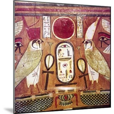 Detail of Egyptian coffin of Priestess of Amen-Ra, Cartouche of Osiris, c950BC-900BC-Unknown-Mounted Giclee Print